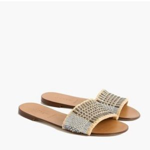 J Crew Metallic Raffia Slide Sandals